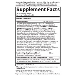 Garden of Life Raw Ultimate Care Probiotics 658010116640 Supplement Facts