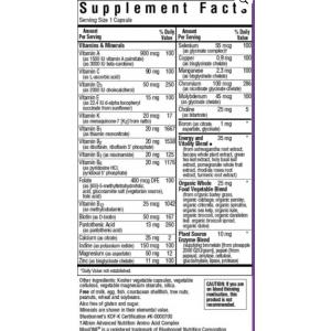 Iron Free Multivitamin MaxiOne Supplement Facts