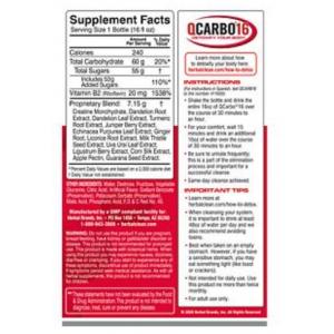 QCarbo16 with Eliminex Plus - Mega Strength Liquid Cleansing Formula - Tropical FL 16 oz supplement facts