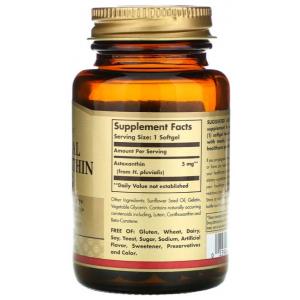 Natural Astaxanthin 5 mg Solgar supplement facts