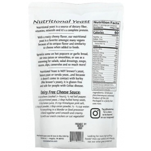 Nutritional Yeast by Foods Alive supplement facts