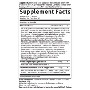 Garden of Life Raw Probiotics Ultimate Care Supplement Facts