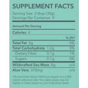 Ocean's Promise Premium Sea Moss Gel with aloe vera supplement facts