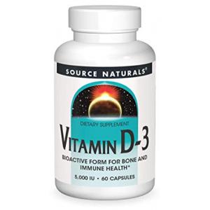 Source Naturals Vitamin D-3 5000 iu Supports Bone & Immune Health - 60 Capsules