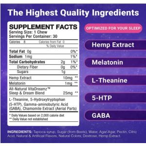 VitaDreamz 300 mg CBD Sleep Chews 300 mg supplement facts