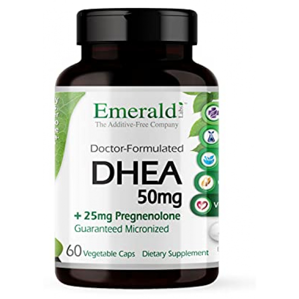 Emerald Labs DHEA 50mg with 25mg Pregnenolone 60 Capsules