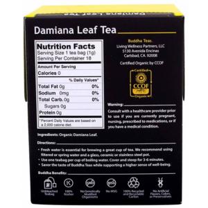 Buddha Teas Damiana Leaf Tea supplement facts