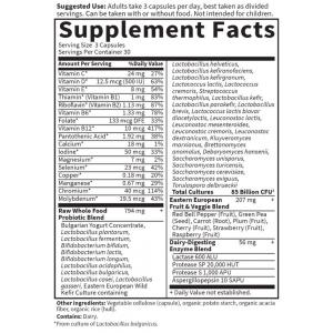 Garden of Life Raw Probiotics Mens Cooler 85 Billion 31 strains 90 caps supplement facts